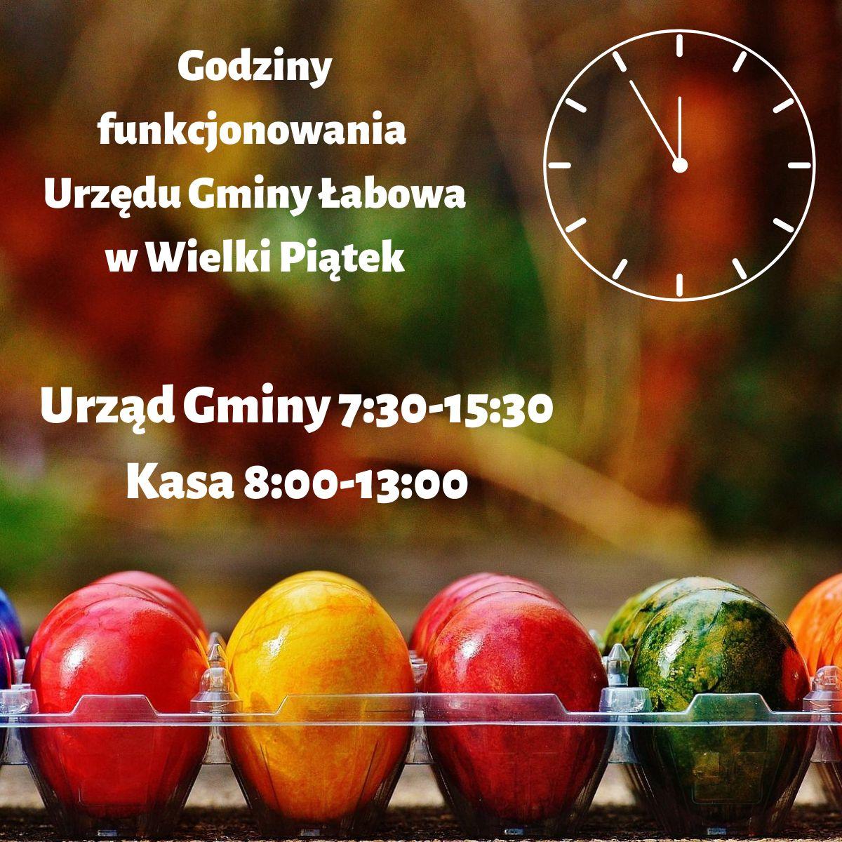 Godziny funkcjonowania Urzędu Gminy Łabowa w Wielki Piątek